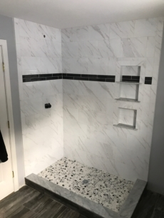 Custom shower and soap tray