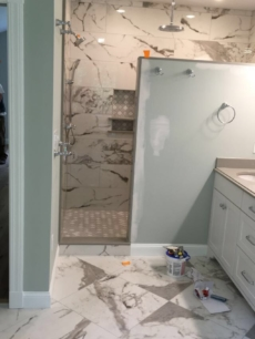 Faux Marble Custom Shower