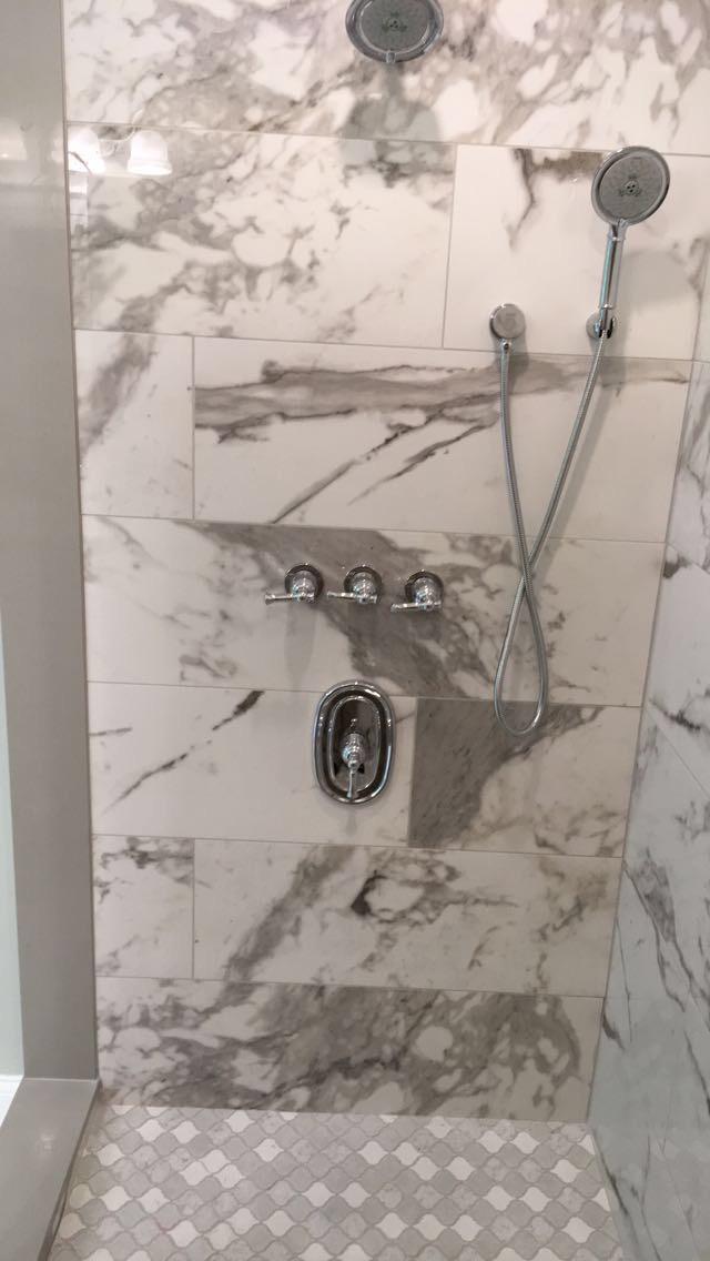 Faux Marble Custom Shower