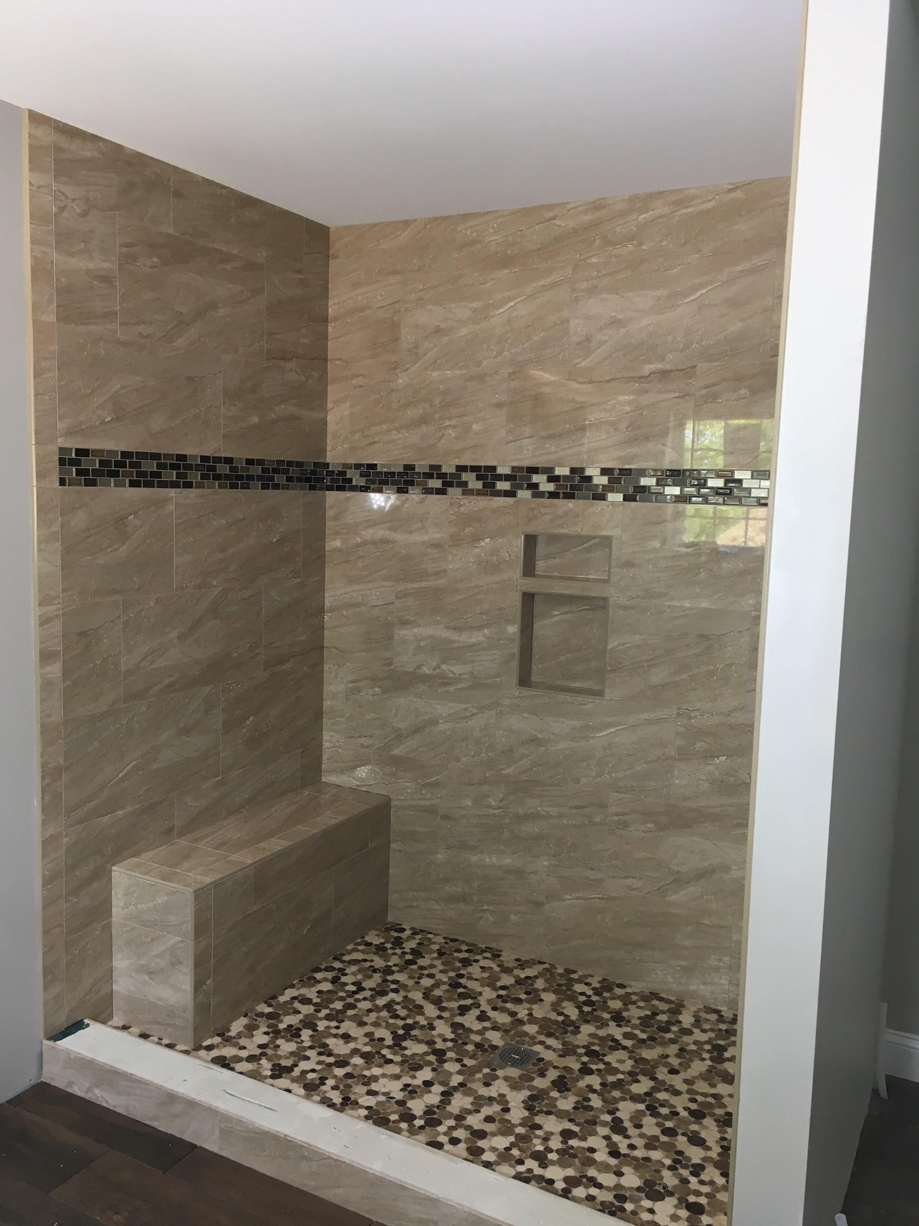 Polished River Rock custom shower